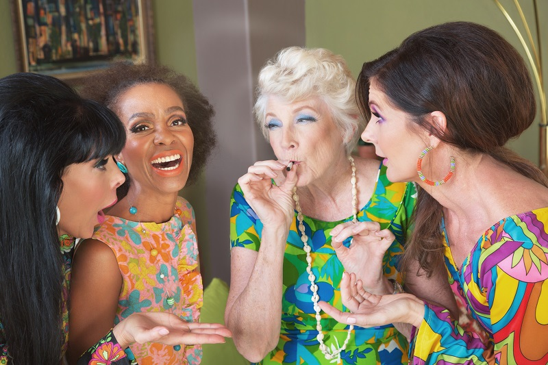 Four Women smoking cannabis at a party