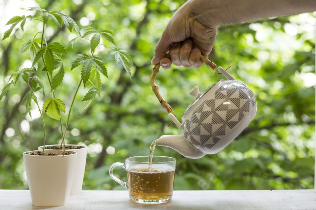 Printed teapot pouring cannabis tea to assist with sleep